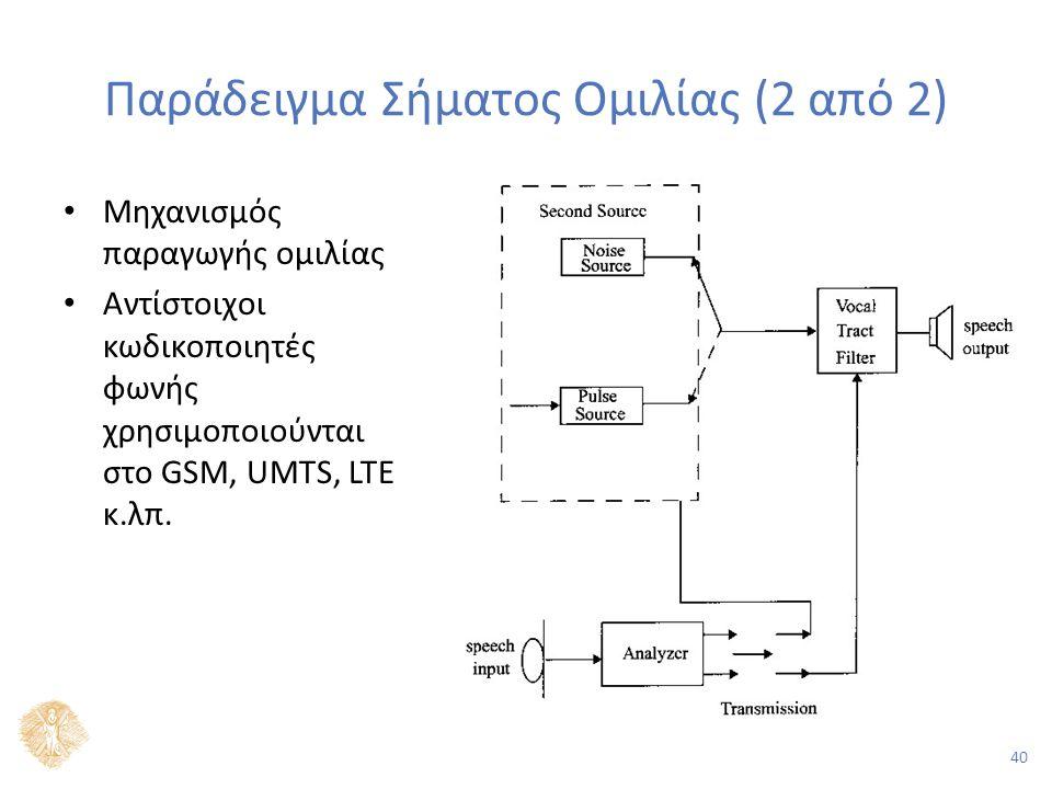 40 Παράδειγμα Σήματος Ομιλίας (2 από 2) Μηχανισμός παραγωγής ομιλίας Αντίστοιχοι κωδικοποιητές φωνής χρησιμοποιούνται στο GSM, UMTS, LTE κ.λπ.