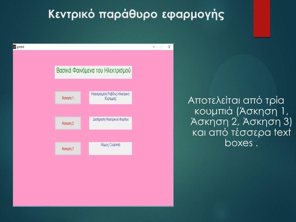 Κεντρικό παράθυρο εφαρμογής Αποτελείται από τρία κουμπιά (Άσκηση 1, Άσκηση 2, Άσκηση 3) και από τέσσερα text boxes.