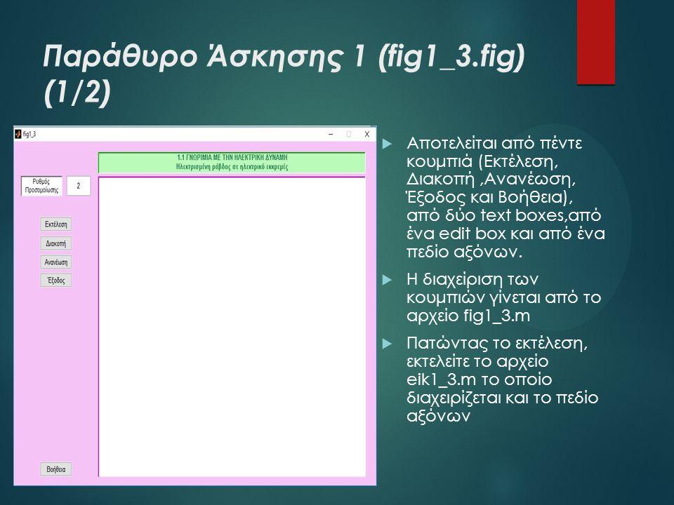 Παράθυρο Άσκησης 1 (fig1_3.fig) (1/2)  Αποτελείται από πέντε κουμπιά (Εκτέλεση, Διακοπή,Ανανέωση, Έξοδος και Βοήθεια), από δύο text boxes,από ένα edit box και από ένα πεδίο αξόνων.