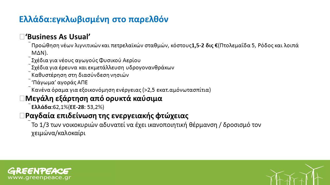 Ελλάδα:εγκλωβισμένη στο παρελθόν  'Business As Usual'  Προώθηση νέων λιγνιτικών και πετρελαϊκών σταθμών, κόστους1,5-2 δις €(Πτολεμαΐδα 5, Ρόδος και λοιπά ΜΔΝ).