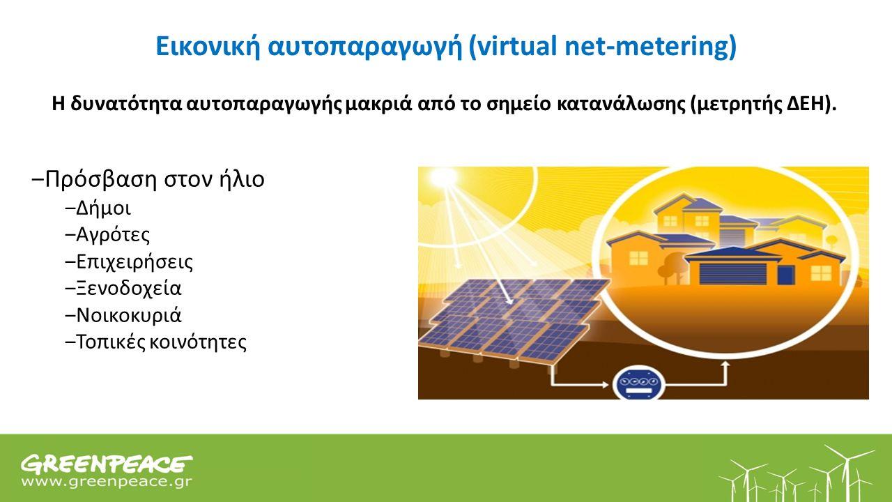 Εικονική αυτοπαραγωγή (virtual net-metering) Η δυνατότητα αυτοπαραγωγής μακριά από το σημείο κατανάλωσης (μετρητής ΔΕΗ).