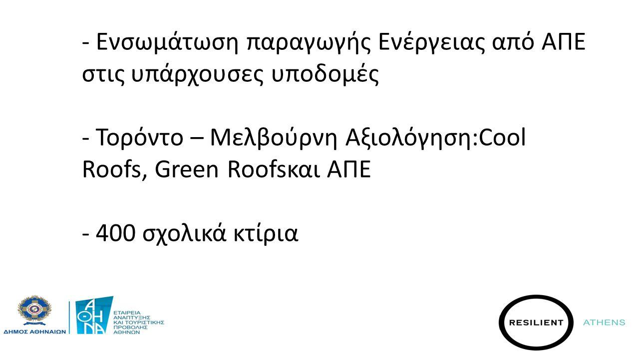 - Η Αθήνα≠άδειους χώρους - Ενσωμάτωση παραγωγής Ενέργειας από ΑΠΕ στις υπάρχουσες υποδομές - Τορόντο – Μελβούρνη Αξιολόγηση:Cool Roofs, Green Roofsκαι ΑΠΕ - 400 σχολικά κτίρια