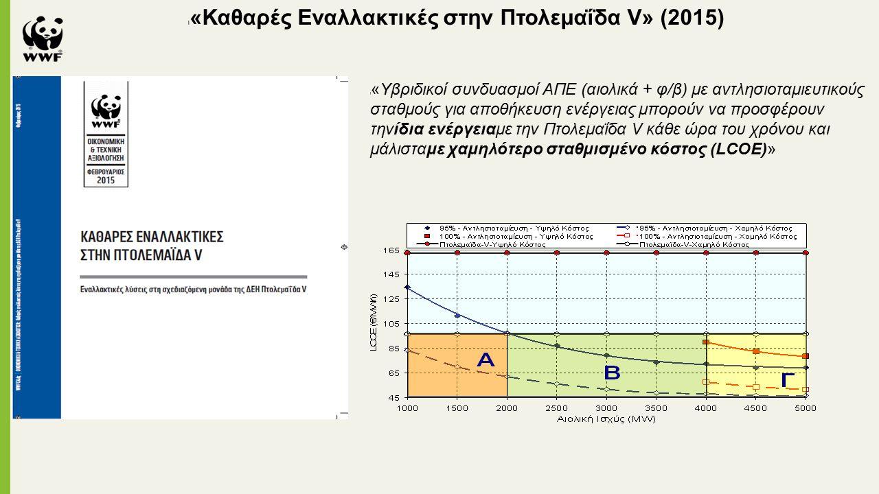 l «Καθαρές Εναλλακτικές στην Πτολεμαΐδα V» (2015) l «Υβριδικοί συνδυασμοί ΑΠΕ (αιολικά + φ/β) με αντλησιοταμιευτικούς σταθμούς για αποθήκευση ενέργειας μπορούν να προσφέρουν τηνίδια ενέργειαμε την Πτολεμαΐδα V κάθε ώρα του χρόνου και μάλισταμε χαμηλότερο σταθμισμένο κόστος (LCOE)»