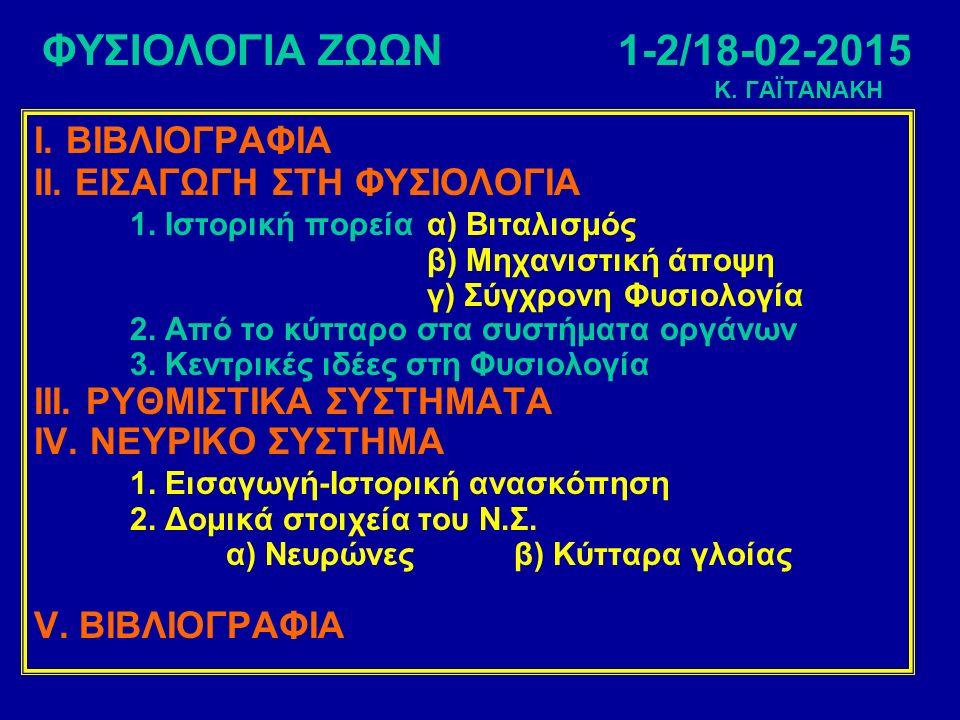 ΦΥΣΙΟΛΟΓΙΑ ΖΩΩΝ1-2/18-02-2015 Κ. ΓΑΪΤΑΝΑΚΗ Ι. ΒΙΒΛΙΟΓΡΑΦΙΑ ΙΙ.