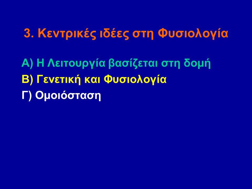 3. Κεντρικές ιδέες στη Φυσιολογία Α) Η Λειτουργία βασίζεται στη δομή Β) Γενετική και Φυσιολογία Γ) Ομοιόσταση