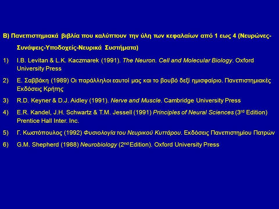 B) Πανεπιστημιακά βιβλία που καλύπτουν την ύλη των κεφαλαίων από 1 εως 4 (Νευρώνες- Συνάψεις-Υποδοχείς-Νευρικά Συστήματα) 1)I.B.