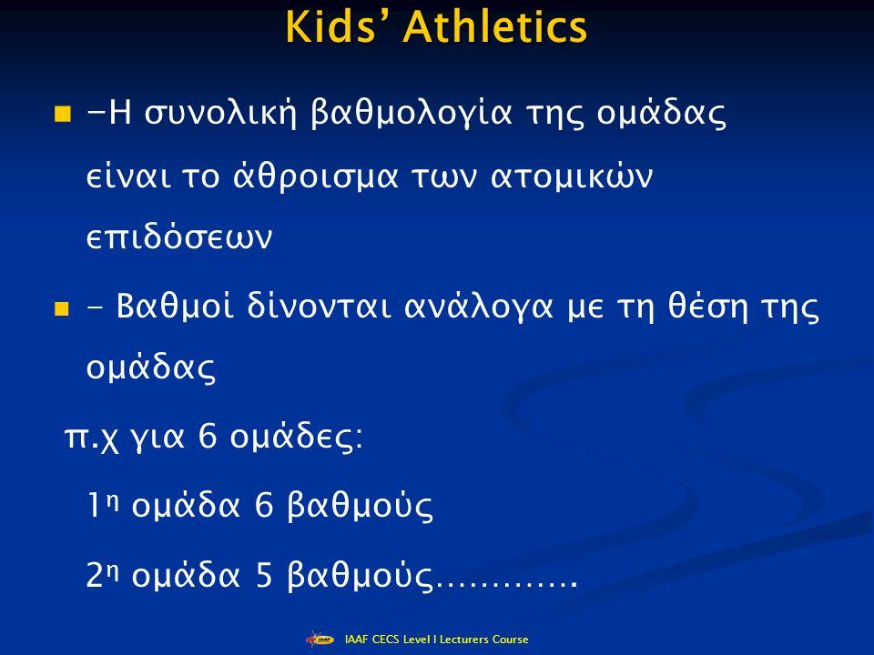 IAAF CECS Level I Lecturers Course Kids' Athletics - Η συνολική βαθμολογία της ομάδας είναι το άθροισμα των ατομικών επιδόσεων - Βαθμοί δίνονται ανάλογα με τη θέση της ομάδας π.χ για 6 ομάδες: 1 η ομάδα 6 βαθμούς 2 η ομάδα 5 βαθμούς………….