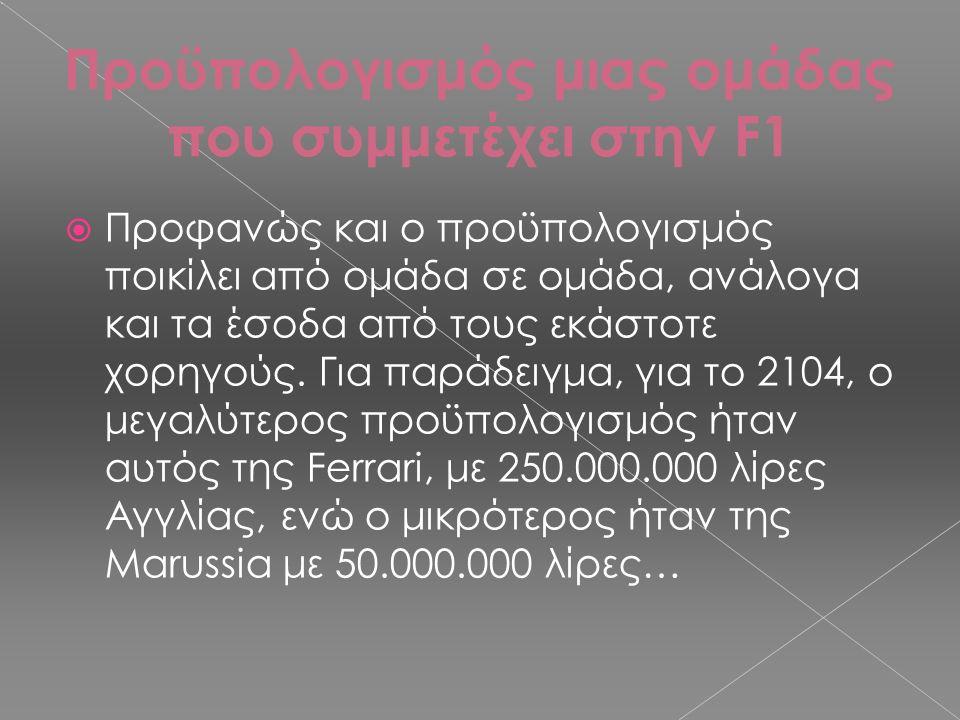 Προϋπολογισμός μιας ομάδας που συμμετέχει στην F1  Προφανώς και ο προϋπολογισμός ποικίλει από ομάδα σε ομάδα, ανάλογα και τα έσοδα από τους εκάστοτε