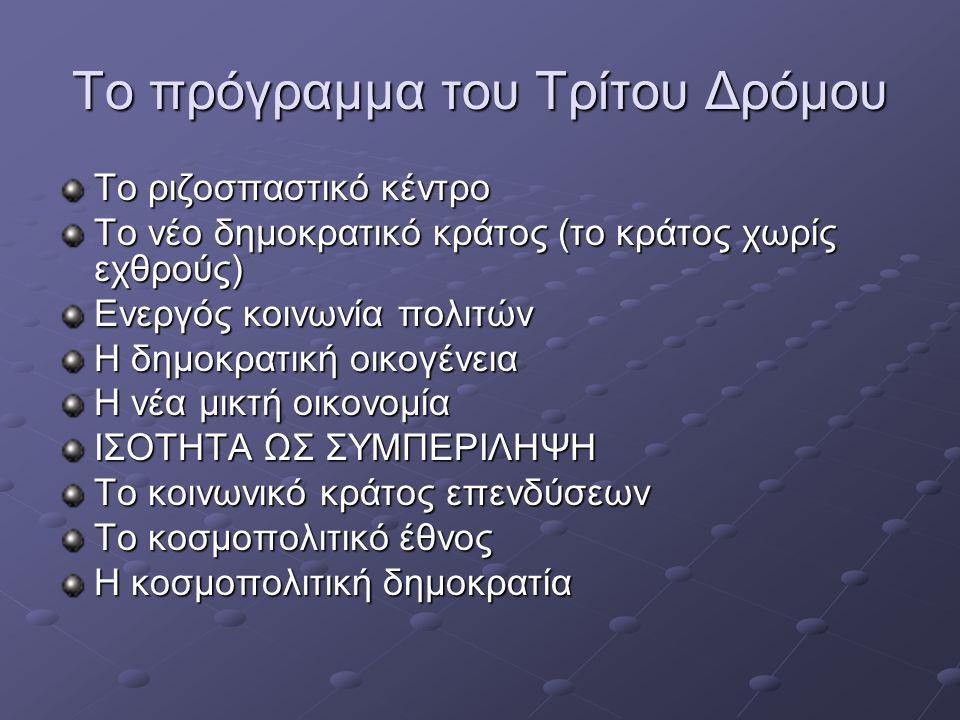 Το πρόγραμμα του Τρίτου Δρόμου Το ριζοσπαστικό κέντρο Το νέο δημοκρατικό κράτος (το κράτος χωρίς εχθρούς) Ενεργός κοινωνία πολιτών Η δημοκρατική οικογ