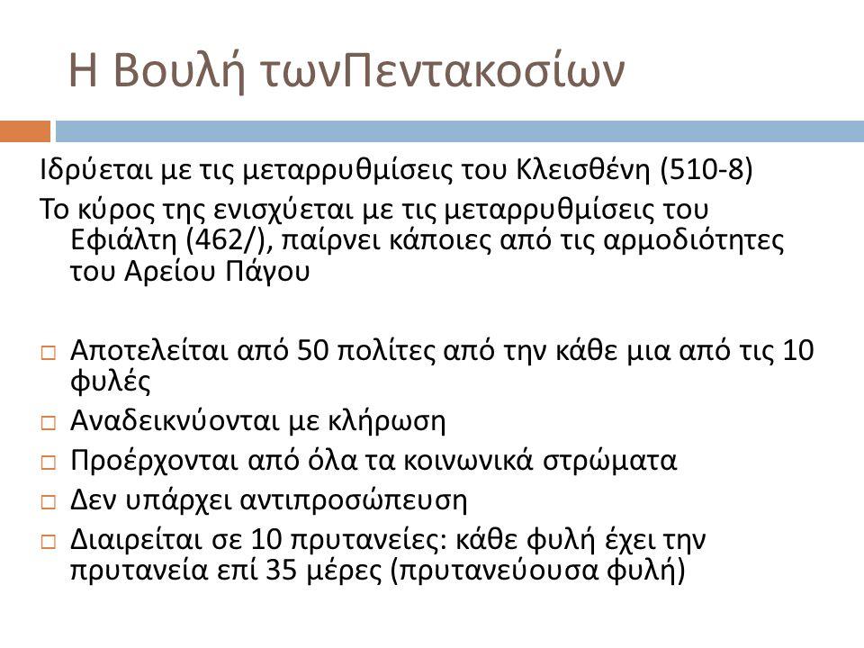 Η Βουλή τωνΠεντακοσίων Ιδρύεται με τις μεταρρυθμίσεις του Κλεισθένη (510-8) Το κύρος της ενισχύεται με τις μεταρρυθμίσεις του Εφιάλτη (462/), παίρνει