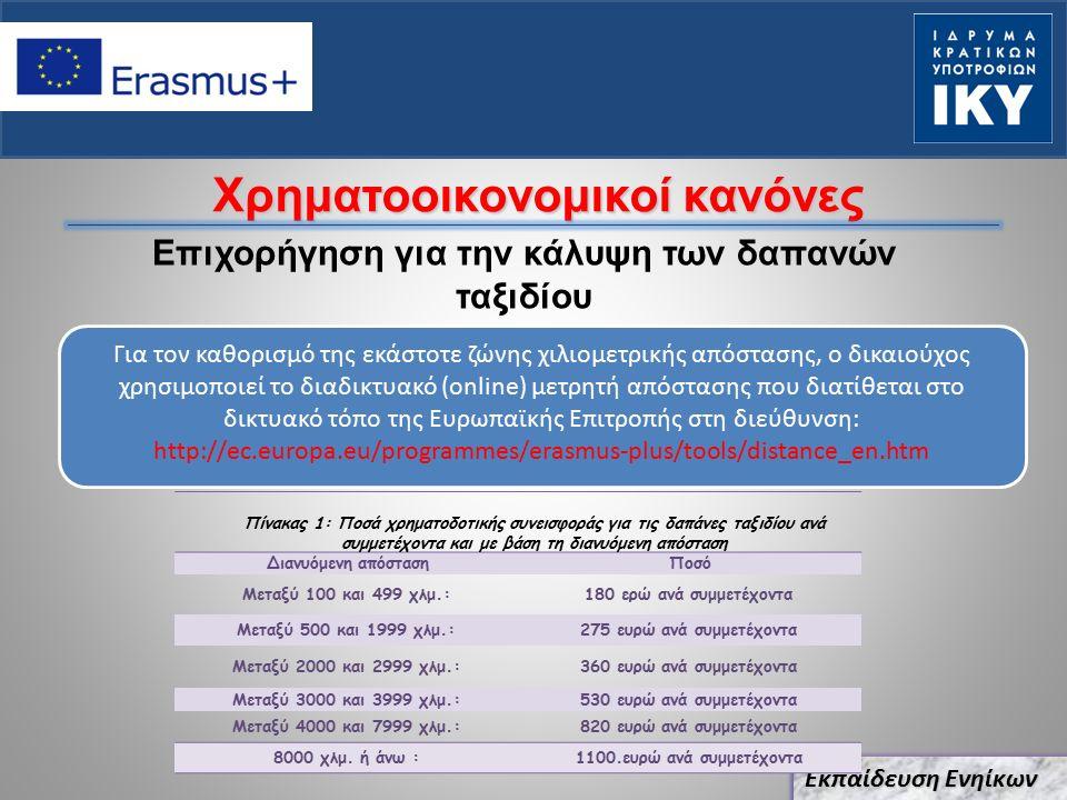 Χρηματοοικονομικοί κανόνες Επιχορήγηση για την κάλυψη των δαπανών ταξιδίου Εκπαίδευση Ενηίκων Για τον καθορισμό της εκάστοτε ζώνης χιλιομετρικής απόστασης, ο δικαιούχος χρησιμοποιεί το διαδικτυακό (online) μετρητή απόστασης που διατίθεται στο δικτυακό τόπο της Ευρωπαϊκής Επιτροπής στη διεύθυνση: http://ec.europa.eu/programmes/erasmus-plus/tools/distance_en.htm Πίνακας 1: Ποσά χρηματοδοτικής συνεισφοράς για τις δαπάνες ταξιδίου ανά συμμετέχοντα και με βάση τη διανυόμενη απόσταση Διανυόμενη απόστασηΠοσό Μεταξύ 100 και 499 χλμ.:180 ερώ ανά συμμετέχοντα Μεταξύ 500 και 1999 χλμ.:275 ευρώ ανά συμμετέχοντα Μεταξύ 2000 και 2999 χλμ.:360 ευρώ ανά συμμετέχοντα Μεταξύ 3000 και 3999 χλμ.:530 ευρώ ανά συμμετέχοντα Μεταξύ 4000 και 7999 χλμ.:820 ευρώ ανά συμμετέχοντα 8000 χλμ.