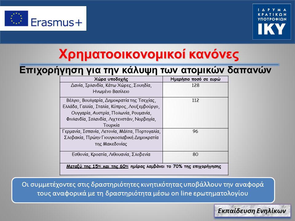 Χρηματοοικονομικοί κανόνες Επιχορήγηση για την κάλυψη των ατομικών δαπανών Εκπαίδευση Ενηλίκων Οι συμμετέχοντες στις δραστηριότητες κινητικότητας υποβάλλουν την αναφορά τους αναφορικά με τη δραστηριότητα μέσω on line ερωτηματολογίου Χώρα υποδοχήςΗμερήσιο ποσό σε ευρώ Δανία, Ιρλανδία, Κάτω Χώρες, Σουηδία, Ηνωμένο Βασίλειο 128 Βέλγιο, Βουλγαρία, Δημοκρατία της Τσεχίας, Ελλάδα, Γαλλία, Ιταλία, Κύπρος, Λουξεμβούργο, Ουγγαρία, Αυστρία, Πολωνία, Ρουμανία, Φινλανδία, Ισλανδία, Λιχτενστάιν, Νορβηγία, Τουρκία 112 Γερμανία, Ισπανία, Λετονία, Μάλτα, Πορτογαλία, Σλοβακία, Πρώην Γιουγκοσλαβική Δημοκρατία της Μακεδονίας 96 Εσθονία, Κροατία, Λιθουανία, Σλοβενία80 Μεταξύ της 15 ης και της 60 ης ημέρας λαμβάνει το 70% της επιχορήγησης