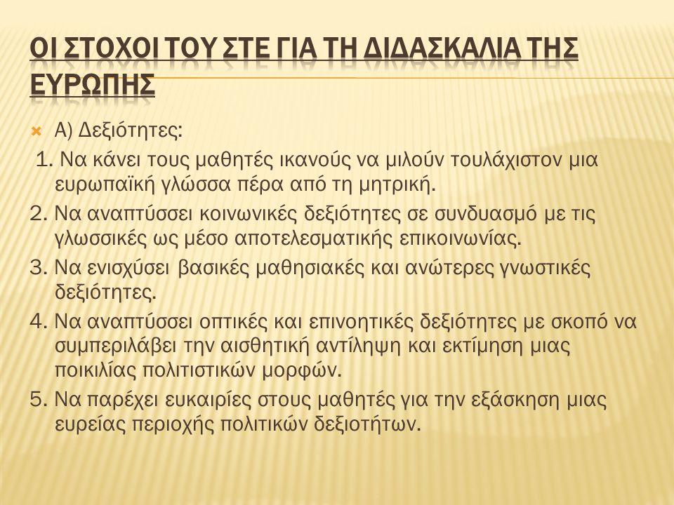  Β) Γνώσεις: 1.