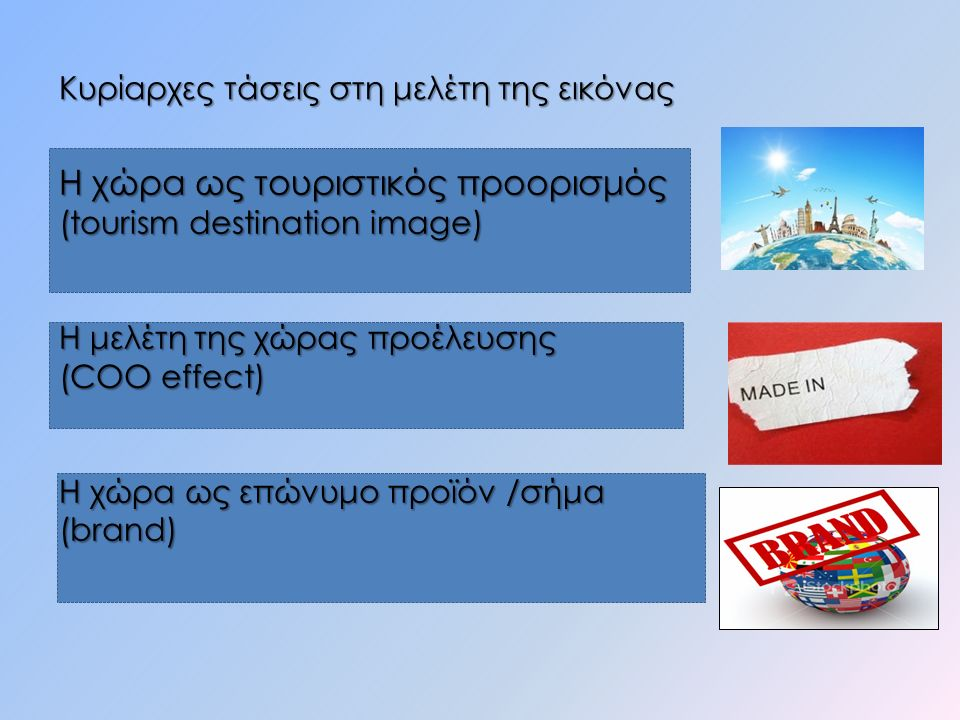 Kυρίαρχες τάσεις στη μελέτη της εικόνας H χώρα ως τουριστικός προορισμός (tourism destination image) Η μελέτη της χώρας προέλευσης (COO effect) Η χώρα ως επώνυμο προϊόν /σήμα (brand)