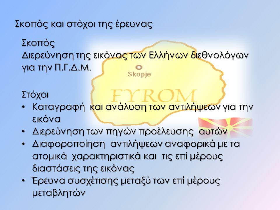 Σκοπός και στόχοι της έρευνας Σκοπός Διερεύνηση της εικόνας των Ελλήνων διεθνολόγων για την Π.Γ.Δ.Μ. Στόχοι Καταγραφή και ανάλυση των αντιλήψεων για τ