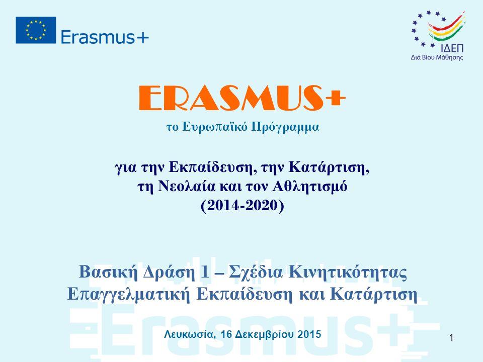 ERASMUS+ το Ευρω π αϊκό Πρόγραμμα για την Εκ π αίδευση, την Κατάρτιση, τη Νεολαία και τον Αθλητισμό (2014-2020) Βασική Δράση 1 – Σχέδια Κινητικότητας Ε π αγγελματική Εκ π αίδευση και Κατάρτιση Λευκωσία, 16 Δεκεμβρίου 2015 1