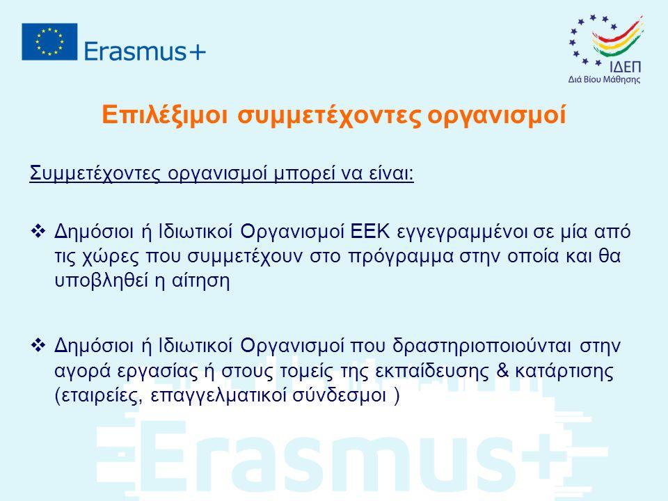 Επιλέξιμοι συμμετέχοντες οργανισμοί Συμμετέχοντες οργανισμοί μπορεί να είναι:  Δημόσιοι ή Ιδιωτικοί Οργανισμοί ΕΕΚ εγγεγραμμένοι σε μία από τις χώρες που συμμετέχουν στο πρόγραμμα στην οποία και θα υποβληθεί η αίτηση  Δημόσιοι ή Ιδιωτικοί Οργανισμοί που δραστηριοποιούνται στην αγορά εργασίας ή στους τομείς της εκπαίδευσης & κατάρτισης (εταιρείες, επαγγελματικοί σύνδεσμοι )