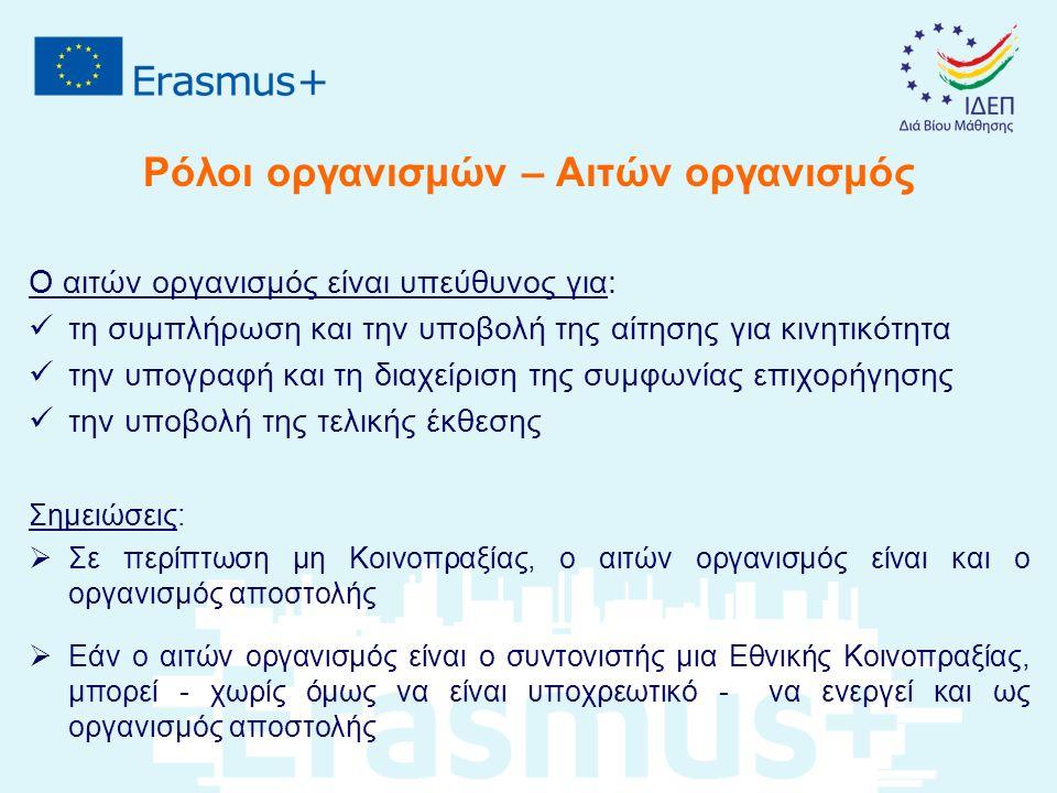 Ρόλοι οργανισμών – Αιτών οργανισμός Ο αιτών οργανισμός είναι υπεύθυνος για: τη συμπλήρωση και την υποβολή της αίτησης για κινητικότητα την υπογραφή κα