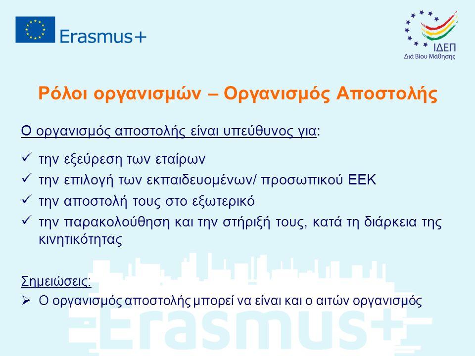 Ρόλοι οργανισμών – Οργανισμός Αποστολής Ο οργανισμός αποστολής είναι υπεύθυνος για: την εξεύρεση των εταίρων την επιλογή των εκπαιδευομένων/ προσωπικού ΕΕΚ την αποστολή τους στο εξωτερικό την παρακολούθηση και την στήριξή τους, κατά τη διάρκεια της κινητικότητας Σημειώσεις:  Ο οργανισμός αποστολής μπορεί να είναι και ο αιτών οργανισμός