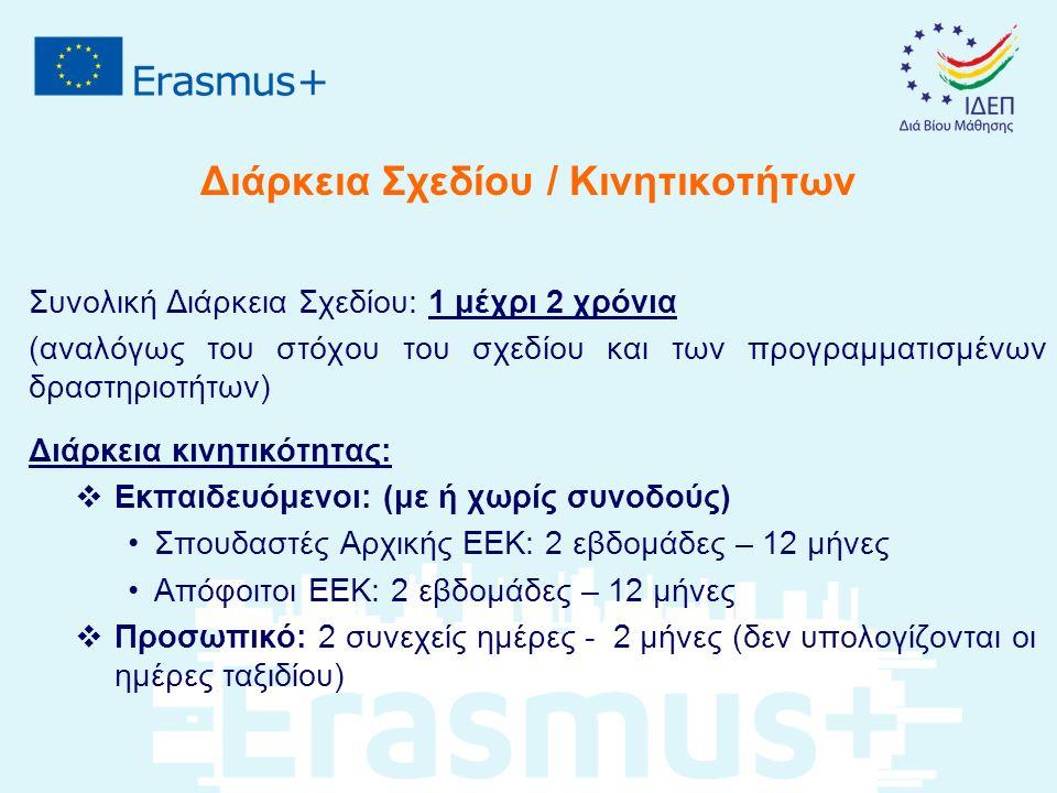 Διάρκεια Σχεδίου / Κινητικοτήτων Συνολική Διάρκεια Σχεδίου: 1 μέχρι 2 χρόνια (αναλόγως του στόχου του σχεδίου και των προγραμματισμένων δραστηριοτήτων) Διάρκεια κινητικότητας:  Εκπαιδευόμενοι: (με ή χωρίς συνοδούς) Σπουδαστές Αρχικής ΕΕΚ: 2 εβδομάδες – 12 μήνες Απόφοιτοι ΕΕΚ: 2 εβδομάδες – 12 μήνες  Προσωπικό: 2 συνεχείς ημέρες - 2 μήνες (δεν υπολογίζονται οι ημέρες ταξιδίου)