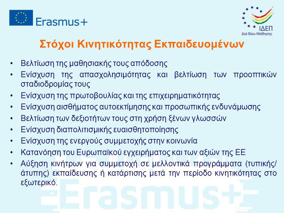Στόχοι Κινητικότητας Προσωπικού ΕΕΚ Βελτίωση επαγγελματικών δεξιοτήτων προς όφελος των εκπαιδευομένων Αύξηση προοπτικών επαγγελματικής ανέλιξης και σταδιοδρομίας και ενίσχυση των κινήτρων για βελτίωση και ανάπτυξη Ευρύτερη κατανόηση των πρακτικών/ πολιτικών και συστημάτων Εκπαίδευσης και Κατάρτισης άλλων χωρών Αύξηση ικανότητας για εκμοντερνισμό και διεθνοποίηση των Ιδρυμάτων/ οργανισμών Κατανόηση και ανταπόκριση στην κοινωνική, γλωσσική και πολιτιστική διαφορετικότητα, αλλά και στις ανάγκες των ατόμων με ειδικές ανάγκες Κατανόηση των διασυνδέσεων μεταξύ τυπικής και μη τυπικής εκπαίδευσης, επαγγελματικής κατάρτισης και αγοράς εργασίας, αντίστοιχα Στήριξη και προώθηση δραστηριοτήτων κινητικότητας για εκπαιδευόμενους Βελτίωση των ικανοτήτων στη χρήση ξένων γλωσσών