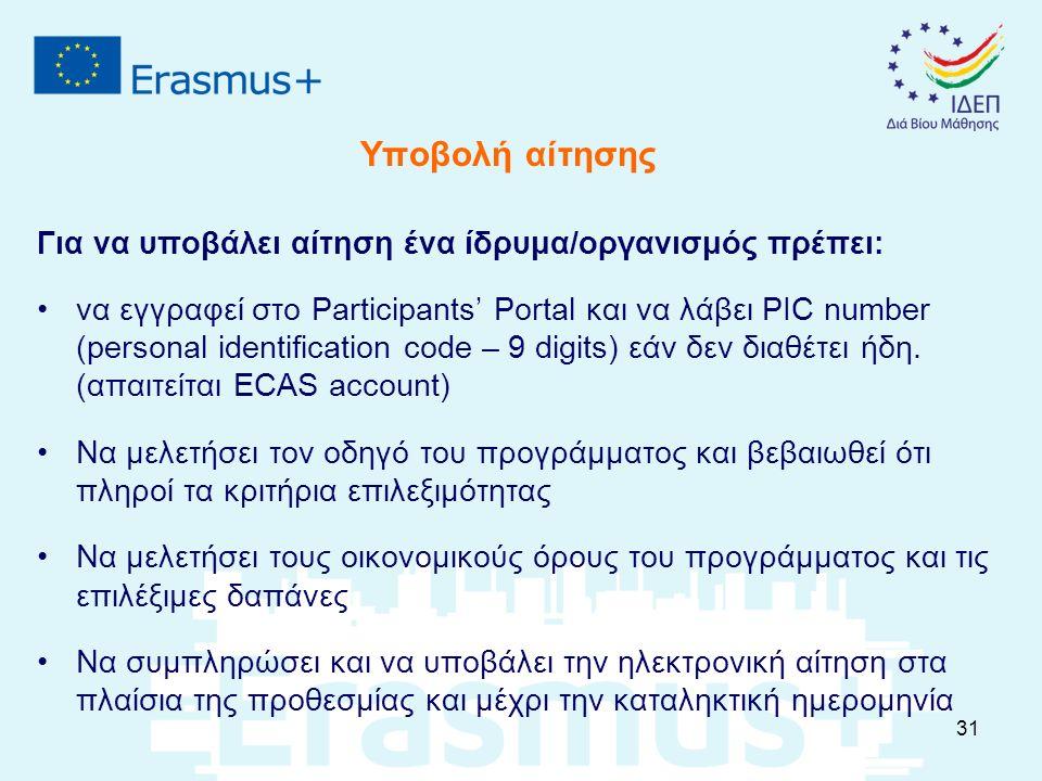 Υποβολή αίτησης Για να υποβάλει αίτηση ένα ίδρυμα/οργανισμός πρέπει: να εγγραφεί στο Participants' Portal και να λάβει PIC number (personal identifica