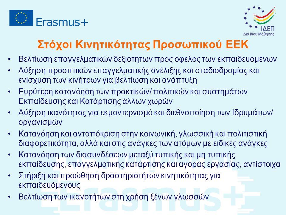 Στόχοι Κινητικότητας Προσωπικού ΕΕΚ Βελτίωση επαγγελματικών δεξιοτήτων προς όφελος των εκπαιδευομένων Αύξηση προοπτικών επαγγελματικής ανέλιξης και στ
