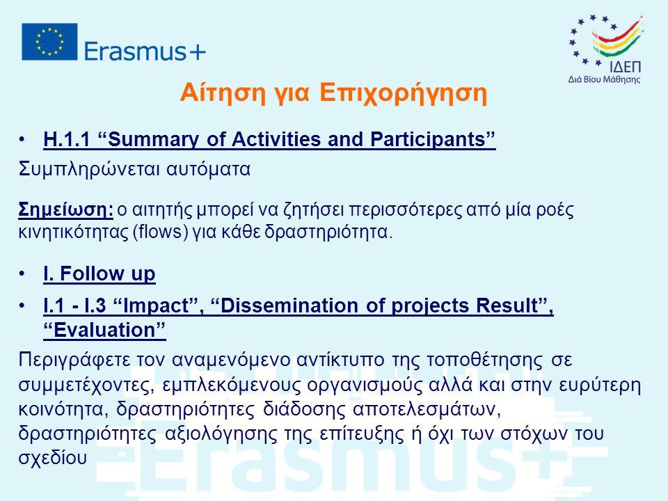 """Αίτηση για Επιχορήγηση Η.1.1 """"Summary of Activities and Participants"""" Συμπληρώνεται αυτόματα Σημείωση: ο αιτητής μπορεί να ζητήσει περισσότερες από μί"""