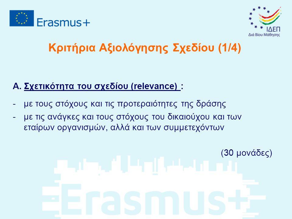 Κριτήρια Αξιολόγησης Σχεδίου (1/4) Α. Σχετικότητα του σχεδίου (relevance) : -με τους στόχους και τις προτεραιότητες της δράσης -με τις ανάγκες και του