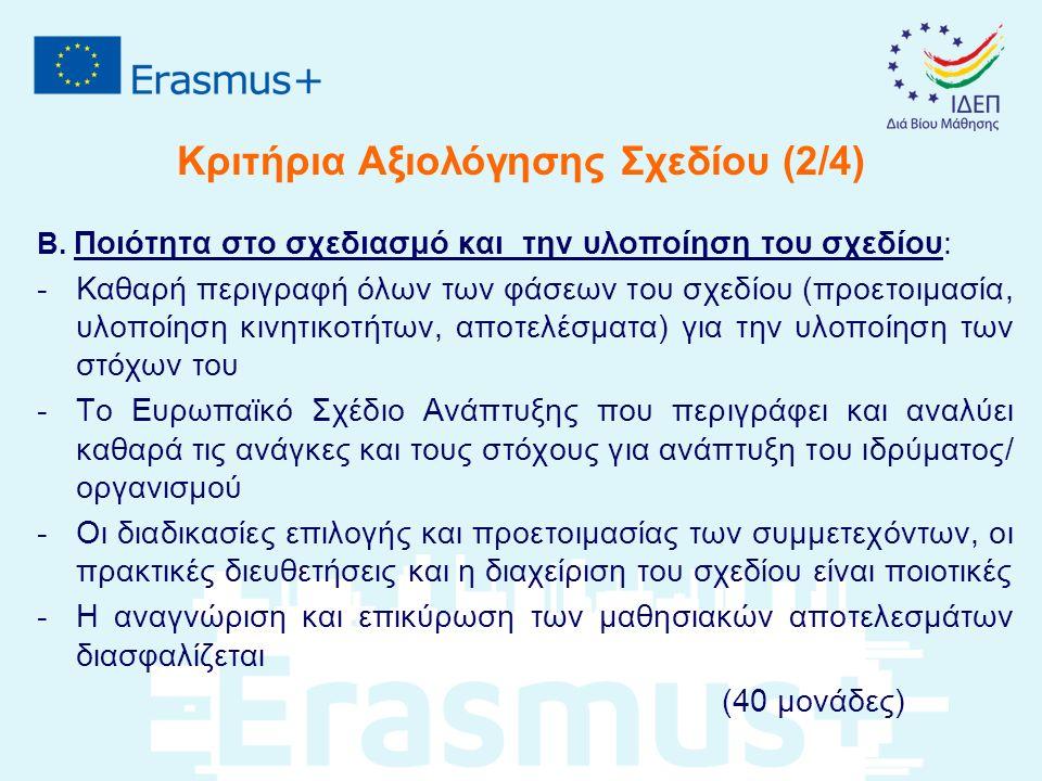 Κριτήρια Αξιολόγησης Σχεδίου (2/4) Β.