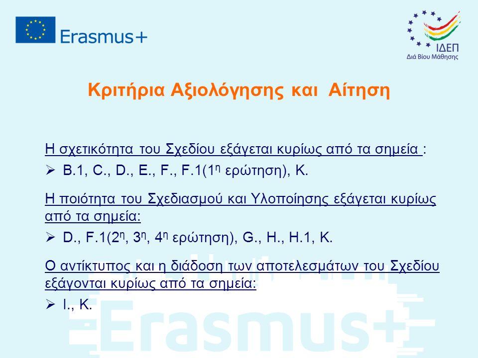 Κριτήρια Αξιολόγησης και Αίτηση Η σχετικότητα του Σχεδίου εξάγεται κυρίως από τα σημεία :  Β.1, C., D., E., F., F.1(1 η ερώτηση), Κ. Η ποιότητα του Σ