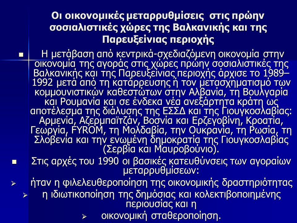 Οι οικονομικές μεταρρυθμίσεις στις πρώην σοσιαλιστικές χώρες της Βαλκανικής και της Παρευξείνιας περιοχής Η μετάβαση από κεντρικά-σχεδιαζόμενη οικονομία στην οικονομία της αγοράς στις χώρες πρώην σοσιαλιστικές της Βαλκανικής και της Παρευξείνιας περιοχής άρχισε το 1989– 1992 μετά από τη κατάρρευσης ή τον μετασχηματισμό των κομμουνιστικών καθεστώτων στην Αλβανία, τη Βουλγαρία και Ρουμανία και σε ένδεκα νέα ανεξάρτητα κράτη ως αποτέλεσμα της διάλυσης της ΕΣΣΔ και της Γιουγκοσλαβίας: Αρμενία, Αζερμπαϊτζάν, Βοσνία και Ερζεγοβίνη, Κροατία, Γεωργία, FYROM, τη Μολδαβία, την Ουκρανία, τη Ρωσία, τη Σλοβενία και την ενωμένη δημοκρατία της Γιουγκοσλαβίας (Σερβία και Μαυροβούνιο).