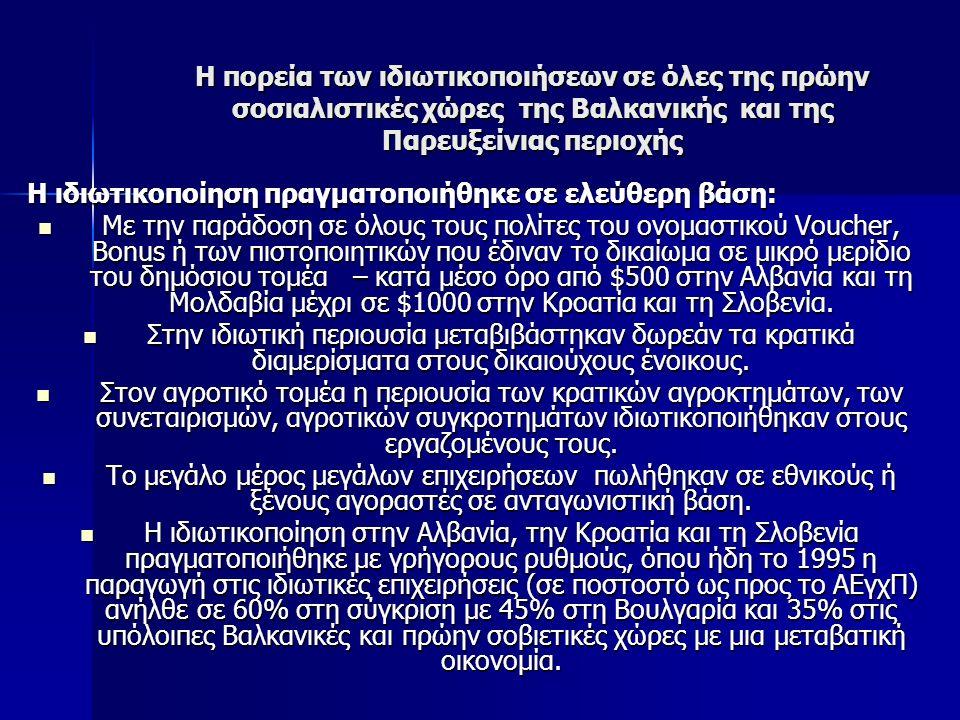 Η πορεία των ιδιωτικοποιήσεων σε όλες της πρώην σοσιαλιστικές χώρες της Βαλκανικής και της Παρευξείνιας περιοχής Η ιδιωτικοποίηση πραγματοποιήθηκε σε ελεύθερη βάση: Η ιδιωτικοποίηση πραγματοποιήθηκε σε ελεύθερη βάση: Με την παράδοση σε όλους τους πολίτες του ονομαστικού Voucher, Bonus ή των πιστοποιητικών που έδιναν το δικαίωμα σε μικρό μερίδιο του δημόσιου τομέα – κατά μέσο όρο από $500 στην Αλβανία και τη Μολδαβία μέχρι σε $1000 στην Κροατία και τη Σλοβενία.