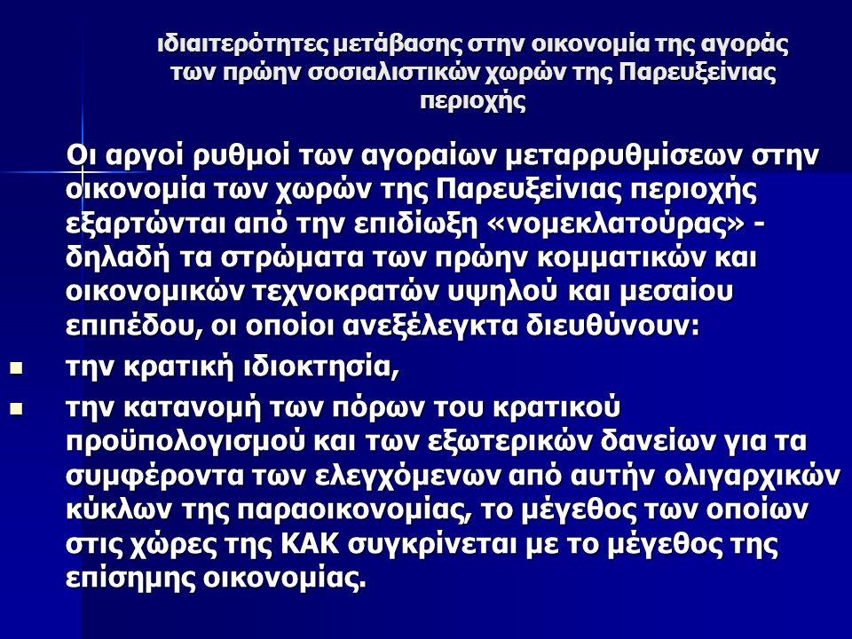 ιδιαιτερότητες μετάβασης στην οικονομία της αγοράς των πρώην σοσιαλιστικών χωρών της Παρευξείνιας περιοχής Οι αργοί ρυθμοί των αγοραίων μεταρρυθμίσεων στην οικονομία των χωρών της Παρευξείνιας περιοχής εξαρτώνται από την επιδίωξη «νομεκλατούρας» - δηλαδή τα στρώματα των πρώην κομματικών και οικονομικών τεχνοκρατών υψηλού και μεσαίου επιπέδου, οι οποίοι ανεξέλεγκτα διευθύνουν: Οι αργοί ρυθμοί των αγοραίων μεταρρυθμίσεων στην οικονομία των χωρών της Παρευξείνιας περιοχής εξαρτώνται από την επιδίωξη «νομεκλατούρας» - δηλαδή τα στρώματα των πρώην κομματικών και οικονομικών τεχνοκρατών υψηλού και μεσαίου επιπέδου, οι οποίοι ανεξέλεγκτα διευθύνουν: την κρατική ιδιοκτησία, την κρατική ιδιοκτησία, την κατανομή των πόρων του κρατικού προϋπολογισμού και των εξωτερικών δανείων για τα συμφέροντα των ελεγχόμενων από αυτήν ολιγαρχικών κύκλων της παραοικονομίας, το μέγεθος των οποίων στις χώρες της ΚΑΚ συγκρίνεται με το μέγεθος της επίσημης οικονομίας.