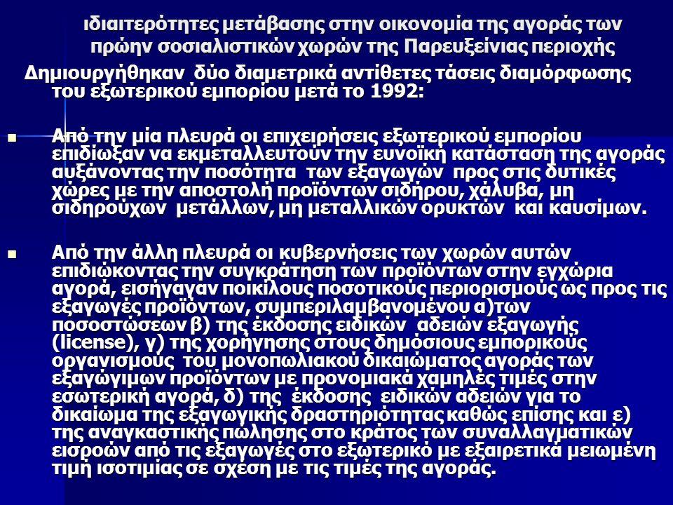 ιδιαιτερότητες μετάβασης στην οικονομία της αγοράς των πρώην σοσιαλιστικών χωρών της Παρευξείνιας περιοχής Δημιουργήθηκαν δύο διαμετρικά αντίθετες τάσεις διαμόρφωσης του εξωτερικού εμπορίου μετά το 1992: Δημιουργήθηκαν δύο διαμετρικά αντίθετες τάσεις διαμόρφωσης του εξωτερικού εμπορίου μετά το 1992: Από την μία πλευρά οι επιχειρήσεις εξωτερικού εμπορίου επιδίωξαν να εκμεταλλευτούν την ευνοϊκή κατάσταση της αγοράς αυξάνοντας την ποσότητα των εξαγωγών προς στις δυτικές χώρες με την αποστολή προϊόντων σιδήρου, χάλυβα, μη σιδηρούχων μετάλλων, μη μεταλλικών ορυκτών και καυσίμων.