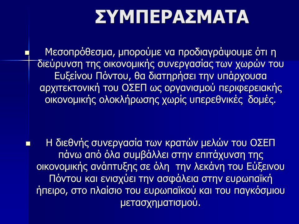 ΣΥΜΠΕΡΑΣΜΑΤΑ ΣΥΜΠΕΡΑΣΜΑΤΑ Μεσοπρόθεσμα, μπορούμε να προδιαγράψουμε ότι η διεύρυνση της οικονομικής συνεργασίας των χωρών του Ευξείνου Πόντου, θα διατηρήσει την υπάρχουσα αρχιτεκτονική του ΟΣΕΠ ως οργανισμού περιφερειακής οικονομικής ολοκλήρωσης χωρίς υπερεθνικές δομές.