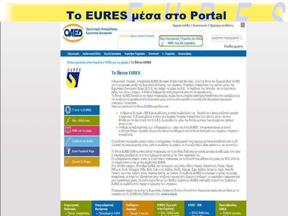 Το EURES μέσα στο Portal