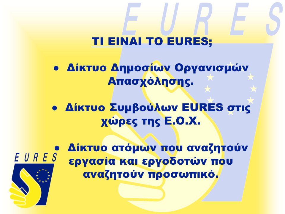 ● Δίκτυο Δημοσίων Οργανισμών Απασχόλησης. ● Δίκτυο Συμβούλων EURES στις χώρες της Ε.Ο.Χ.