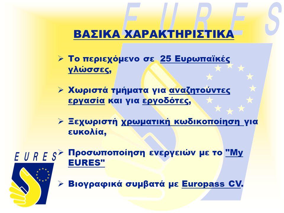 ΒΑΣΙΚΑ ΧΑΡΑΚΤΗΡΙΣΤΙΚΑ  Το περιεχόμενο σε 25 Ευρωπαϊκές γλώσσες,  Χωριστά τμήματα για αναζητούντες εργασία και για εργοδότες,  Ξεχωριστή χρωματική κωδικοποίηση για ευκολία,  Προσωποποίηση ενεργειών με το My EURES  Βιογραφικά συμβατά με Europass CV.