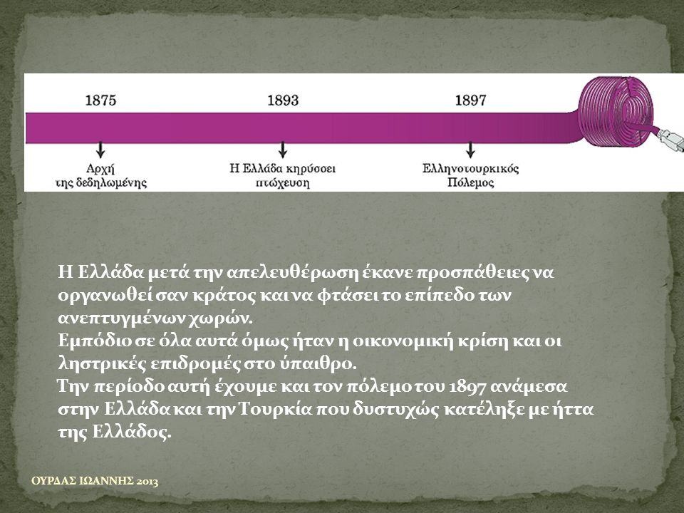 Η Ελλάδα μετά την απελευθέρωση έκανε προσπάθειες να οργανωθεί σαν κράτος και να φτάσει το επίπεδο των ανεπτυγμένων χωρών.