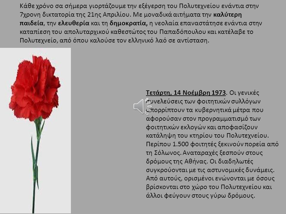Κάθε χρόνο σα σήμερα γιορτάζουμε την εξέγερση του Πολυτεχνείου ενάντια στην 7χρονη δικτατορία της 21ης Απριλίου.