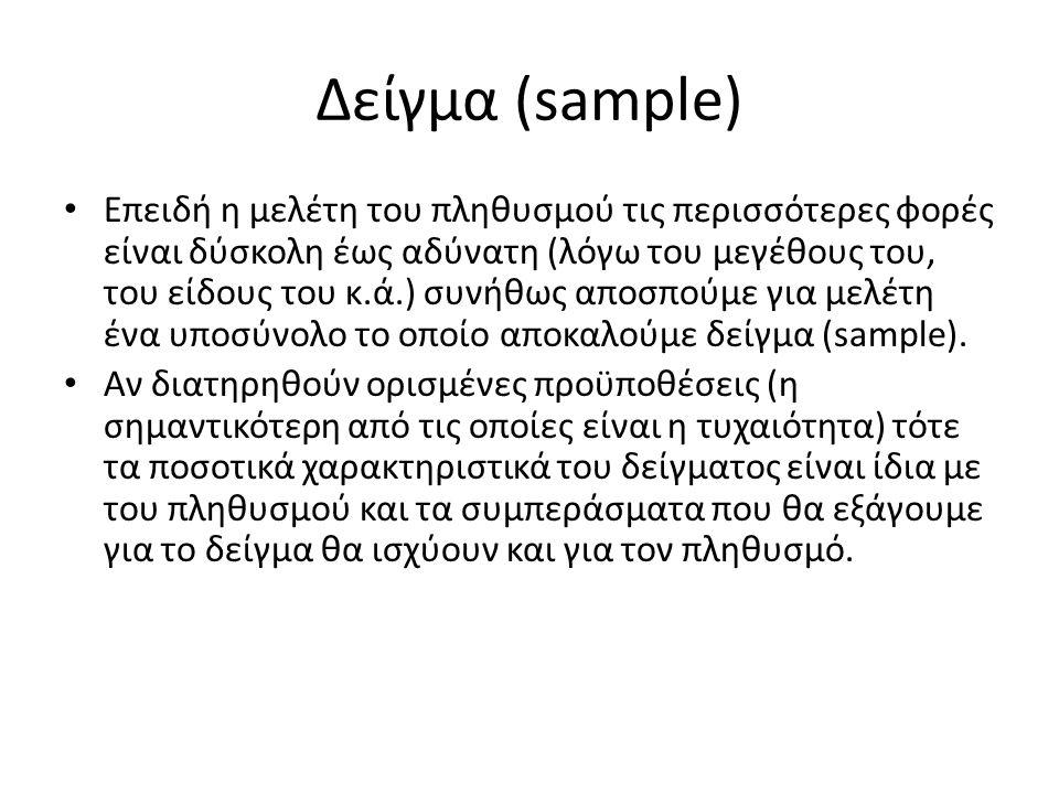 Δείγμα (sample) Επειδή η μελέτη του πληθυσμού τις περισσότερες φορές είναι δύσκολη έως αδύνατη (λόγω του μεγέθους του, του είδους του κ.ά.) συνήθως αποσπούμε για μελέτη ένα υποσύνολο το οποίο αποκαλούμε δείγμα (sample).