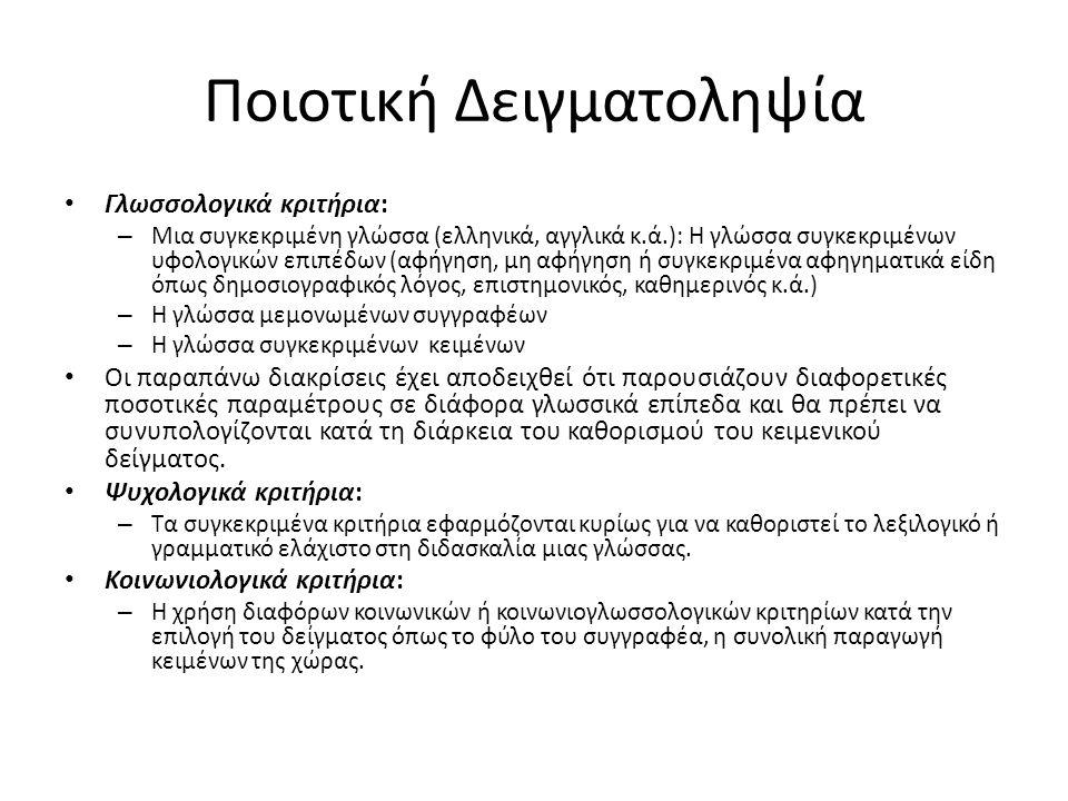 Ποιοτική Δειγματοληψία Γλωσσολογικά κριτήρια: – Μια συγκεκριμένη γλώσσα (ελληνικά, αγγλικά κ.ά.): Η γλώσσα συγκεκριμένων υφολογικών επιπέδων (αφήγηση, μη αφήγηση ή συγκεκριμένα αφηγηματικά είδη όπως δημοσιογραφικός λόγος, επιστημονικός, καθημερινός κ.ά.) – Η γλώσσα μεμονωμένων συγγραφέων – Η γλώσσα συγκεκριμένων κειμένων Οι παραπάνω διακρίσεις έχει αποδειχθεί ότι παρουσιάζουν διαφορετικές ποσοτικές παραμέτρους σε διάφορα γλωσσικά επίπεδα και θα πρέπει να συνυπολογίζονται κατά τη διάρκεια του καθορισμού του κειμενικού δείγματος.