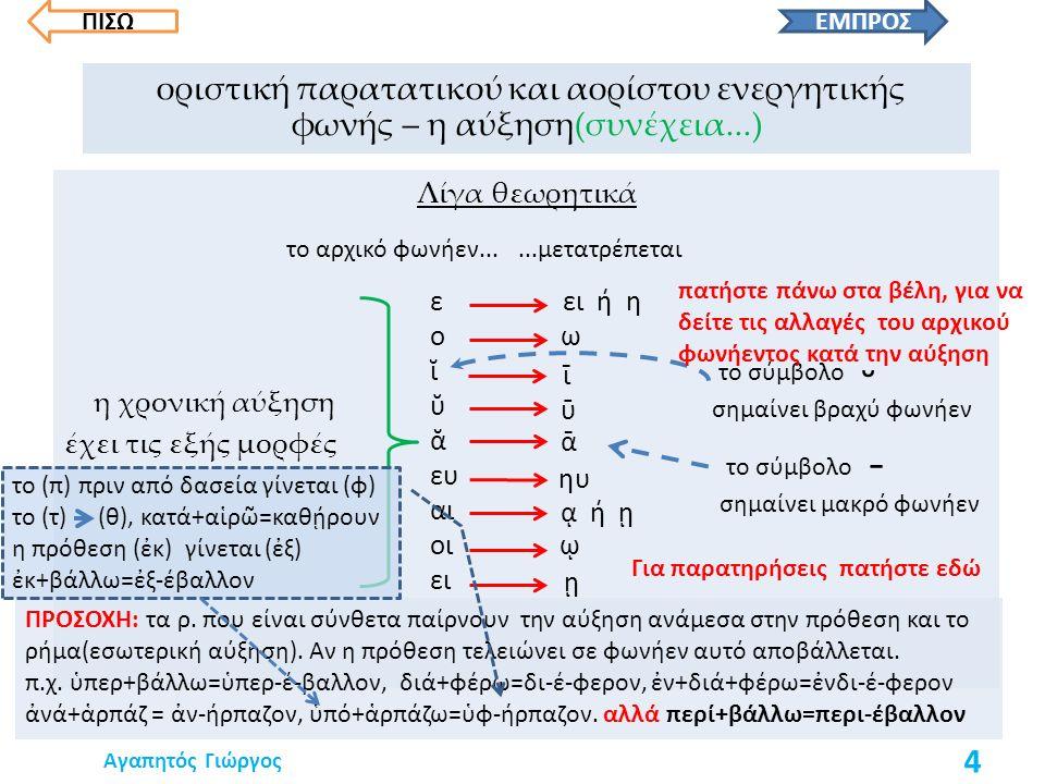 Λίγα θεωρητικά η χρονική αύξηση έχει τις εξής μορφές ΠΡΟΣΟΧΗ: τα ρ.