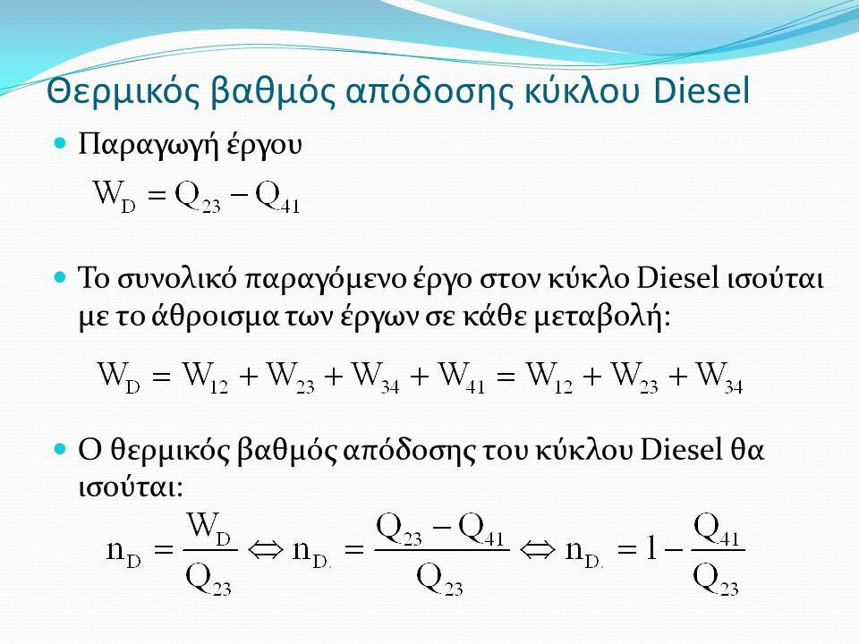 Θερμικός βαθμός απόδοσης κύκλου Diesel Παραγωγή έργου Το συνολικό παραγόμενο έργο στον κύκλο Diesel ισούται με το άθροισμα των έργων σε κάθε μεταβολή: Ο θερμικός βαθμός απόδοσης του κύκλου Diesel θα ισούται: