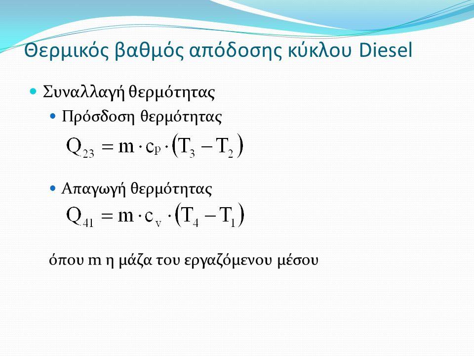 Θερμικός βαθμός απόδοσης κύκλου Diesel Συναλλαγή θερμότητας Πρόσδοση θερμότητας Απαγωγή θερμότητας όπου m η μάζα του εργαζόμενου μέσου
