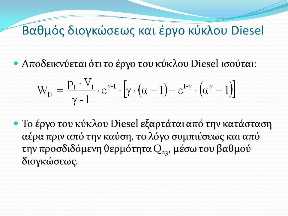 Βαθμός διογκώσεως και έργο κύκλου Diesel Αποδεικνύεται ότι το έργο του κύκλου Diesel ισούται: Το έργο του κύκλου Diesel εξαρτάται από την κατάσταση αέρα πριν από την καύση, το λόγο συμπιέσεως και από την προσδιδόμενη θερμότητα Q 23, μέσω του βαθμού διογκώσεως.
