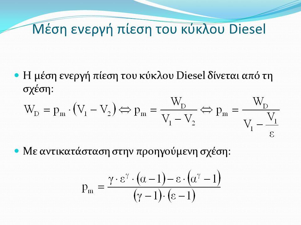 Μέση ενεργή πίεση του κύκλου Diesel Η μέση ενεργή πίεση του κύκλου Diesel δίνεται από τη σχέση: Με αντικατάσταση στην προηγούμενη σχέση: