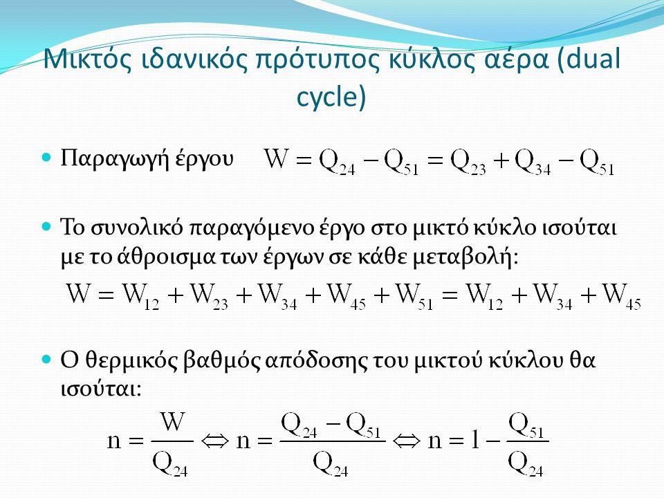 Μικτός ιδανικός πρότυπος κύκλος αέρα (dual cycle) Παραγωγή έργου Το συνολικό παραγόμενο έργο στο μικτό κύκλο ισούται με το άθροισμα των έργων σε κάθε μεταβολή: Ο θερμικός βαθμός απόδοσης του μικτού κύκλου θα ισούται: