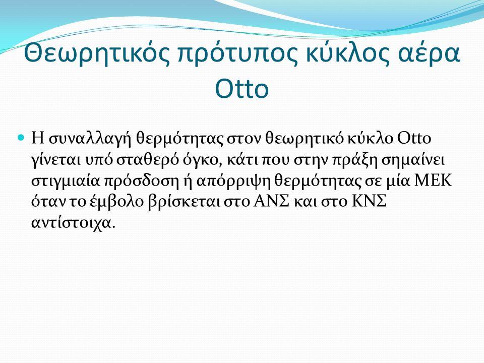 Η συναλλαγή θερμότητας στον θεωρητικό κύκλο Otto γίνεται υπό σταθερό όγκο, κάτι που στην πράξη σημαίνει στιγμιαία πρόσδοση ή απόρριψη θερμότητας σε μία ΜΕΚ όταν το έμβολο βρίσκεται στο ΑΝΣ και στο ΚΝΣ αντίστοιχα.